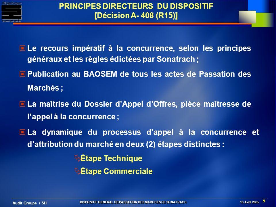 PRINCIPES DIRECTEURS DU DISPOSITIF [Décision A- 408 (R15)]